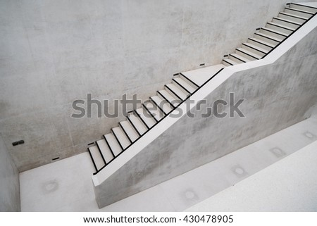Two Level Terrazzo Staircase In Outdoor Area Of White Wall Building   Wide  Angle Background