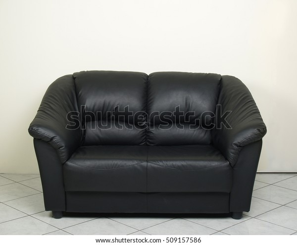 Twoseater Black Leather Couch Sofa Stock Photo (Edit Now ...