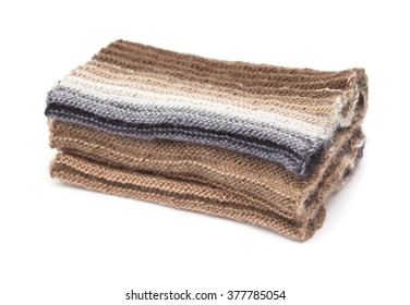 two-sided ribbed knitted scarf, gradual color change, isolated