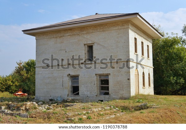Twostorey Building Constructed Limestone Blocks Stock Photo