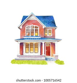 Two-story private house with brick walls and blue roof. Hand-drawn watercolor and colored pencils illustration isolated on white background