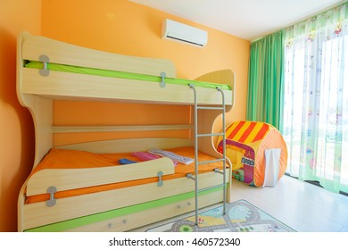 Two-tier bed in a children's room
