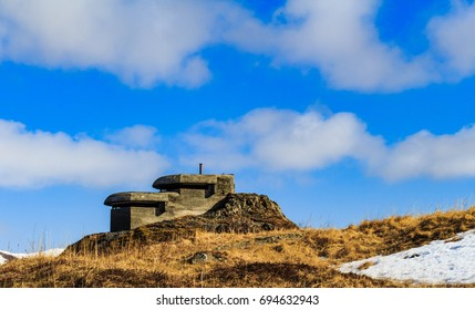 The two-tiered Base End Station from WWII on top of Bunker Hill, Dutch Harbor, Alaska
