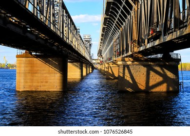 Two-tiered bridge  and rail road  across the Dnieper River in Dnipro City. Dnepropetrovsk, Dnipropetrovsk, Dnepr, Ukraine