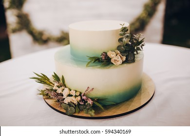 two-tiered wedding cake decorated with branches of greenery, stands on a table in the woods