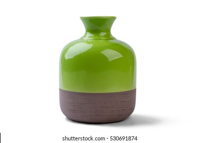 Two-tone vase isolated. Ceramic vase on white background. Decorate house with shiny vase. Best pottery for home.
