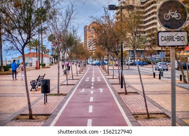 two-way bike path in the city