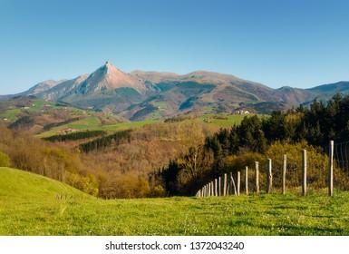 Txindoki mountain and valley from Lazkaomendi on sunny day