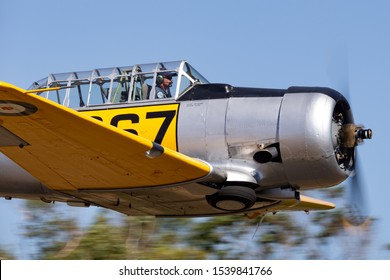 Tyabb, Australia - March 9, 2014: North American Aviation SNJ-4 VH-XSA single engine military training aircraft from World War II.