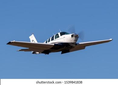 Tyabb, Australia - March 9, 2014: Beechcraft Bonanza A36 six seat single engine light aircraft VH-BIM.