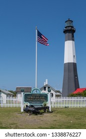 Tybee Island, GA - April 13, 2018: The historic Tybee Island Light is the oldest lighthouse in Georgia and it stands at the entrance to the Savannah River.
