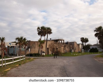 TYBEE ISLAND, GEORGIA - FEBRUARY 20, 2018: A portion of the long decommissioned Fort Screven, has been repurposed into a trendy modern eatery for locals and tourists, on Tybee Island, Georgia.