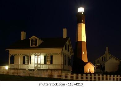 Tybee Island Lighthouse Near Savannah Georgia at Night Horizontal