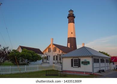 Tybee Island Lighthouse near Savannah, Georgia at sunrise