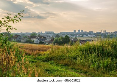 TYCHY, POLAND - JULY 18, 2017: View from a rural hill to the city of Tychy in Silesia in Poland.