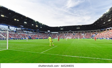 TYCHY, POLAND - JUNE 21, 2017: UEFA European Under-21 Championship  match group C between Czech Republic - Italy 3:1. Aerial view of the stadium.