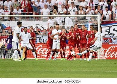TYCHY, POLAND - JUNE 21, 2017: UEFA European Under-21 Championship  match group C between Czech Republic - Italy 3:1. Shotting Lorenzo Pellegrini (7).