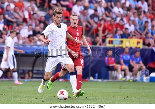 TYCHY, POLAND - JUNE 21, 2017: UEFA European Under-21 Championship  match group C between Czech Republic - Italy 3:1. In action Daniel Rugani (L) Jakub Jankto (R).