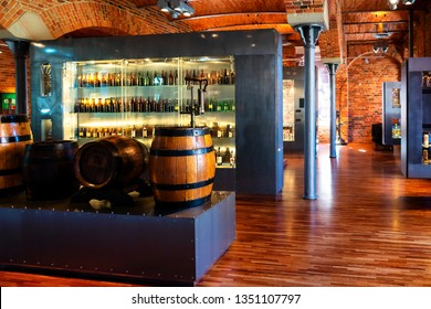 TYCHY, POLAND - MARCH 17, 2019: Interior of a brewery and museum in Tychy, Poland. Scenery is in a vintage style.