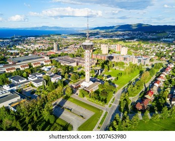 Tyholt TV Tower aerial panoramic view in Trondheim. Trondheim is the third most populous municipality in Norway.