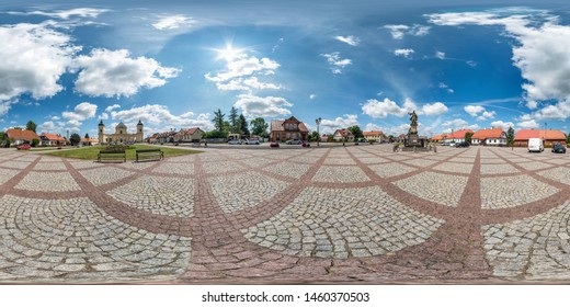 TYKOCIN, POLAND - JULY, 2019: Full seamless spherical hdri panorama 360 degrees angle view in medieval pedestrian street place of old town in equirectangular  projection. Skybox for VR AR content