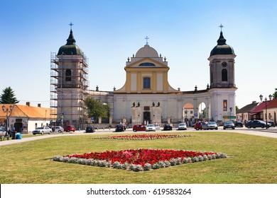 TYKOCIN, POLAND - JUNE 26, 2016: Baroque Church of the Holy Trinity in Tykocin Town, Market Square.