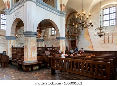TYKOCIN, POLAND - MAY 03, 2018: Interior of the historic great synagogue building in mannerist-early Baroque style, built in 1642 and restored in the late 1970s.