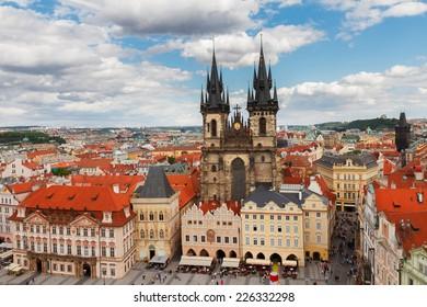 Tyn cathedral church at market square, Prague, Czech Republic