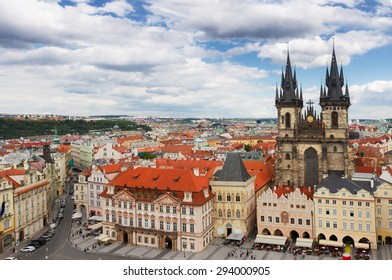 Tyn cathedral church at market square from above,  Prague, Czech Republic