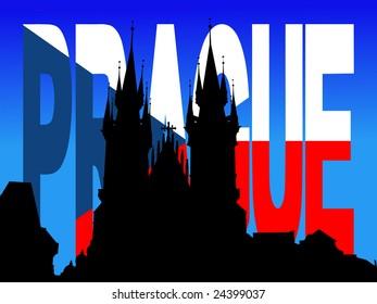 Tyn Church Prague with flag text illustration JPEG