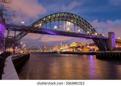 The Tyne Bridge at Night in Winter with Snow