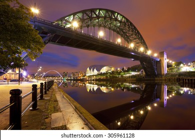 The Tyne Bridge over the river Tyne in Newcastle, England at night.