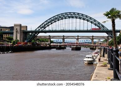 The Tyne Bridge, a through arch bridge over the River Tyne in North East England, linking Newcastle upon Tyne and Gateshead, England, UK