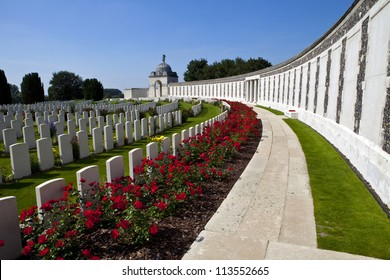 Tyne Cot Cemetery in Ypres, Belgium.  Tyne Cot Commonwealth War Graves Cemetery and Memorial to the Missing is a Commonwealth War Graves burial ground for the dead of the First World War in the Ypres.