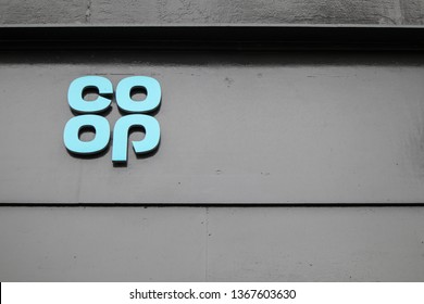 Tynemouth / Great Britain - April 06, 2019 : Co-op logo sign on the exterior of a building