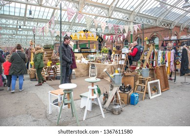 Tynemouth / Great Britain - April 06, 2019 : Tynemouth Metro Station Weekend Flea Market.  Stall selling secondhand homewares