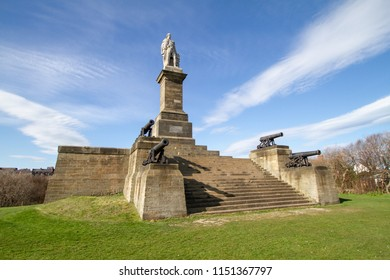 Tynemouth/England - April 4th 2013: Tyemouth Collingwood monument on sunny summers day
