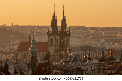 Tynsky chram.  It is one of the most important artistic churches in Prague, both in terms of architecture and its preserved interior furnishings. - Shutterstock ID 1683621763