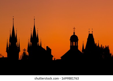 Tynsky chram.  It is one of the most important artistic churches in Prague, both in terms of architecture and its preserved interior furnishings. The view is from Charles Bridge - Shutterstock ID 1699881763