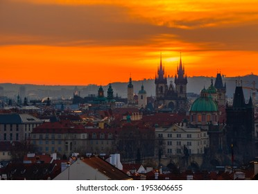 Tynsky chram.  It is one of the most important artistic churches in Prague, both in terms of architecture and its preserved interior furnishings. - Shutterstock ID 1953606655