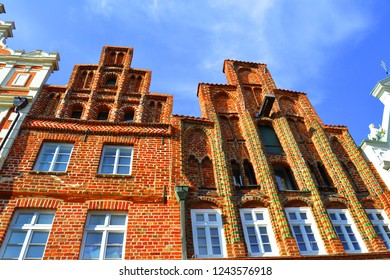 Typcal old brick buildings in Luneburg, Germany, Europe. Brick gothic architecture.