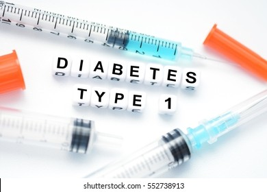 Type 1 diabetes concept suggested by insulin syringe
