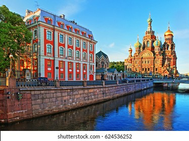 Type of Church of the Savior on Blood from Teatralny Bridge  at sunrise in St. Petersburg