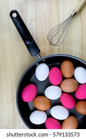 Type of egg in a pan with whisk; chinken, duck, horse