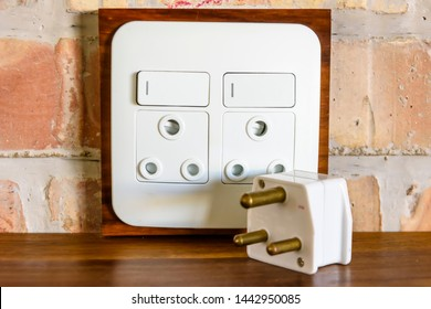 Type M 15A round pin electrical socket and plugs, as used in Namibia, South Africa, Swaziland, Lesotho, Sri Lanka, Nepal, India, Mozambique