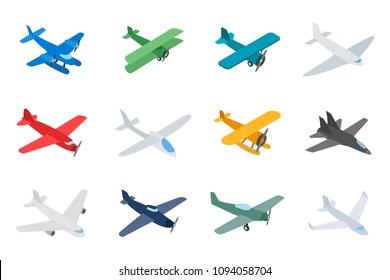 Type of plane icon set. Isometric set of type of plane icons for web isolated on white background