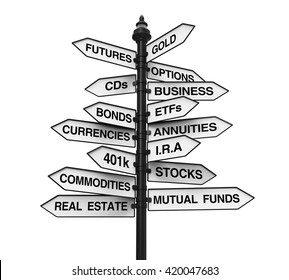 Types of Investments Direction Sign. 3D rendering