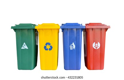 types of rubbish, separated by its color, Rubbish Bin (Green), recyclable waste (Yellow) general waste (Blue), hazardous waste (Red)