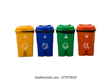 Types of rubbish, separated by its color, Rubbish Bin, recyclable waste, general waste, hazardous waste.Blue, green, yellow and red plastic recycle bin isolated on white background with clipping path.