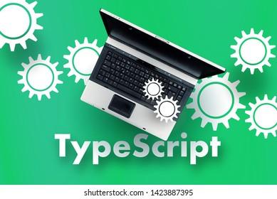 TypeScript programming language. Laptop on word TypeScript